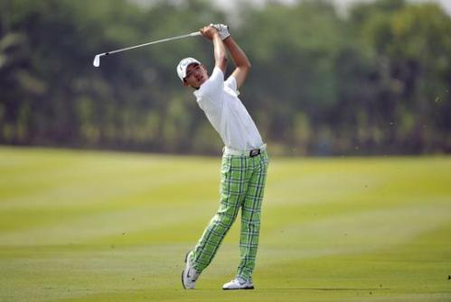 Hope he has a spare pair of those trousers - in case he gets a hole in one!
